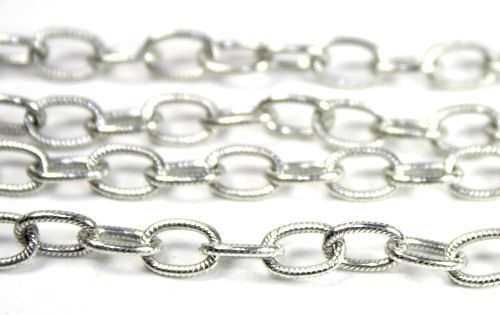 Large Textured Cable Chain - Antique Silver - 1 Foot, $5.00