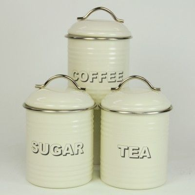 cream tea coffee sugar canisters perfect kitchen. Black Bedroom Furniture Sets. Home Design Ideas