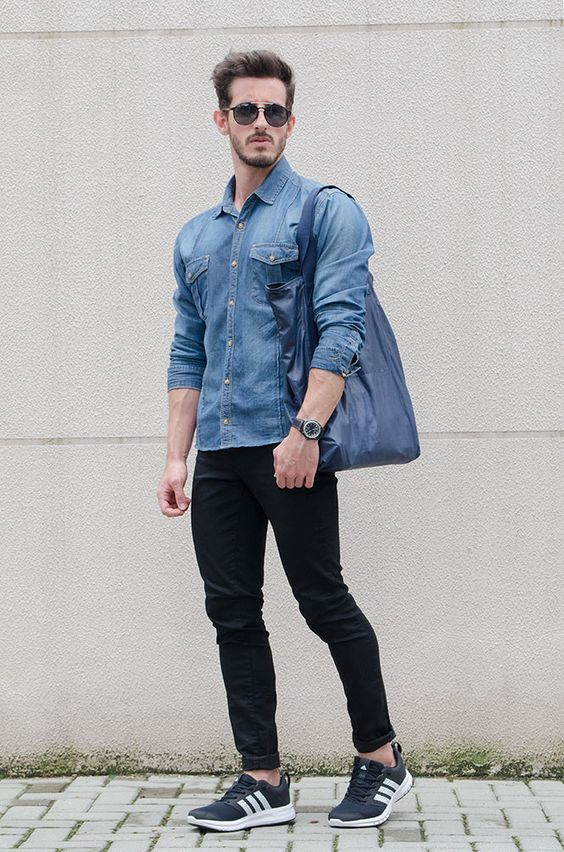 20 Classy u0026 Simple Denim Shirt Outfit for Men in their 20s