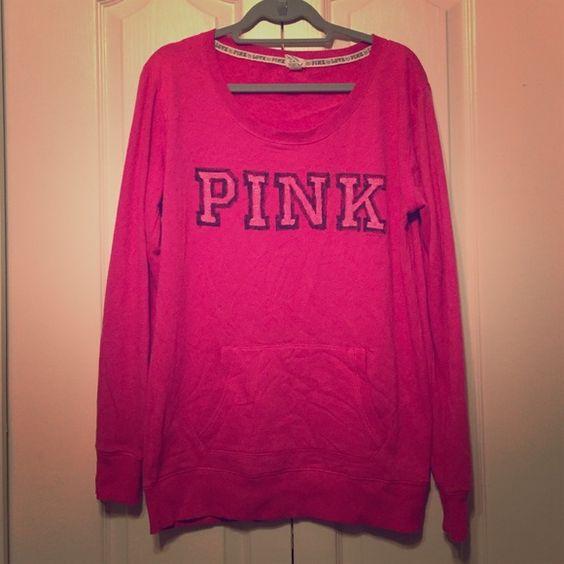 PINK sweatshirt Victoria's Secret Pink collection sweatshirt. Front pocket. PINK Victoria's Secret Tops Sweatshirts & Hoodies