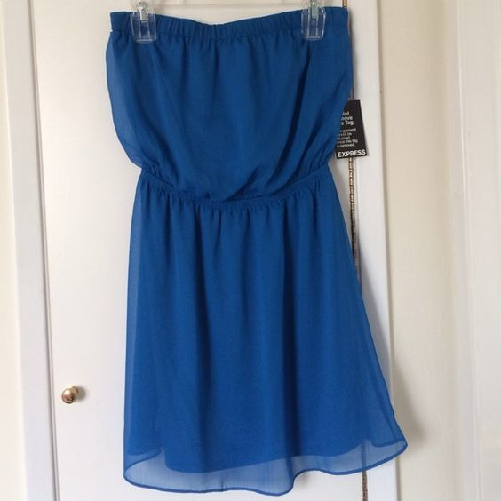 Express Strapless Summer Mini Dress, sz S, NWT Express Strapless Summer Mini Dress, with removable straps, sz S, Color Electric Blue, NWT Express Dresses Strapless