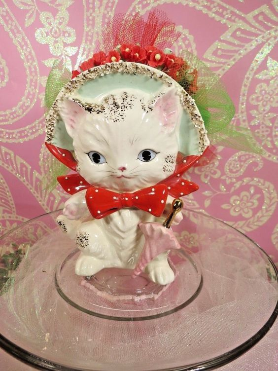 Vtg Kitty Cat W Pink Umbrella Red Polka Dotted Bow Tie Planter Head Vase JAPAN
