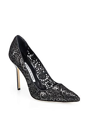 Manolo Blahnik BB Lasercut Leather & Mesh Pumps