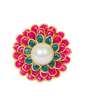 Red Flower Ring by Anokhi Jewelry Shop now at bit.ly/1vOZow4 #anokhi #jewelry #trendy #druzy #serene #white #gemstone #accessory #ring #cocktail ring #flower # ohnineone #happyshopping