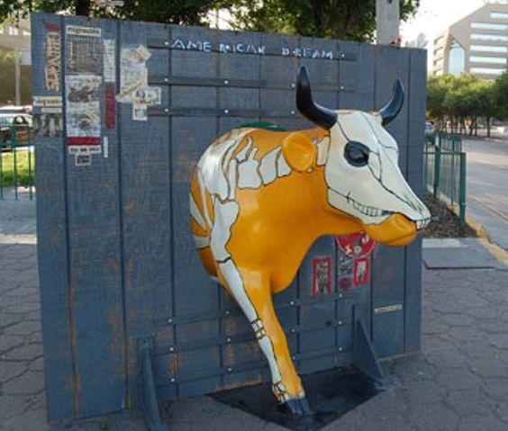 "Tijuana, Mexico - Cows on Parade 2008 - ""He Left Chonita, American Dream"" - 20 life size fiberglass cow statues"