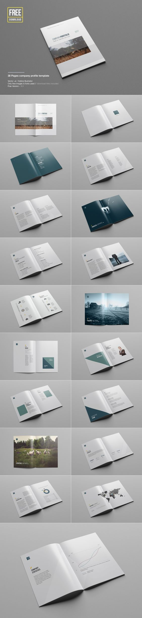 Free Download Company Profile Template Brochure Magazine – Pamphlet Layout Template