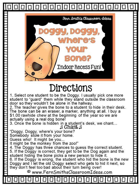 Indoor Recess ~ Doggie, Doggie, Where's Your Bone Directions