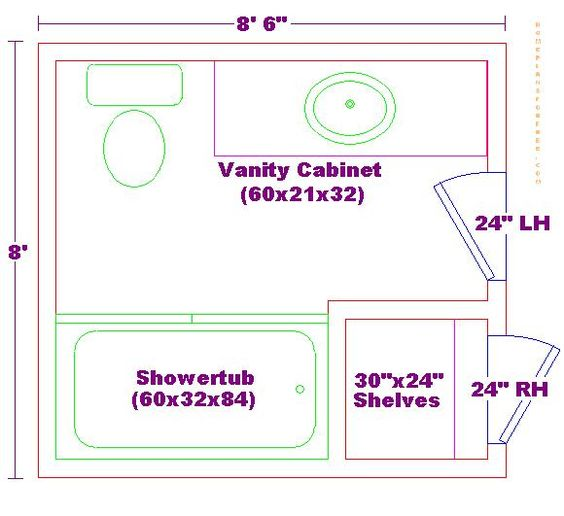 Fhc wang architecture 10 bathroom floorplans for Bathroom 8 x 8 layouts