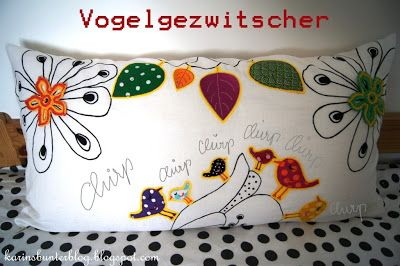 Bird Embroidery by www.mikronaut.de Bird Pillow by Karins bunter Blog
