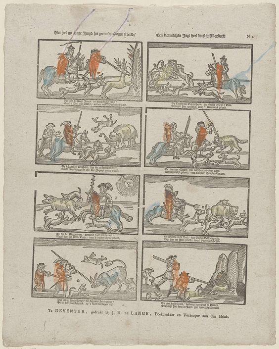Jan Hendrik de Lange | Hier ziet gy jonge jeugd het geen uw ogen streeld / Een koninklijke jagt heel konstig af-gebeeld, Jan Hendrik de Lange, Anonymous, 1787 - 1822 | Blad met 8 voorstellingen van vorsten op jacht. Onder elke afbeelding een tweeregelig vers. Genummerd rechtsboven: N 4.