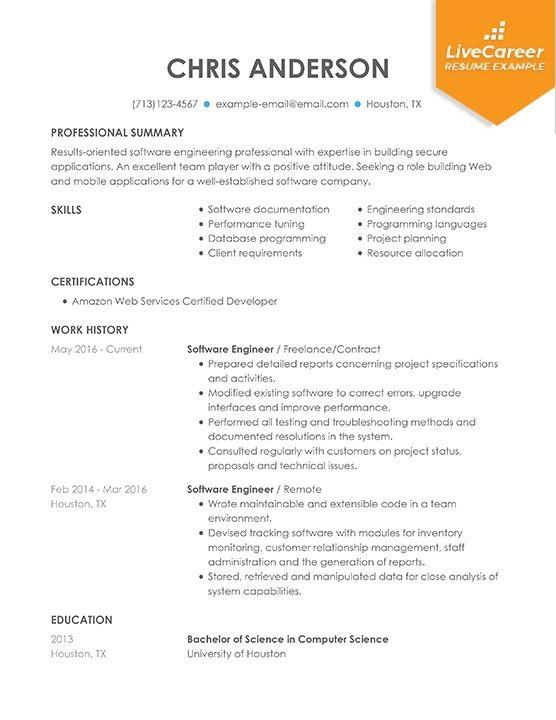 Best Software Engineer Resume Example Livecareer Engineering Resume Resume Software Resume Examples