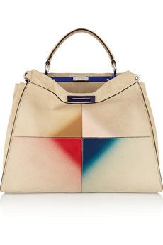 Fendi Peekaboo large patent leather-trimmed suede tote