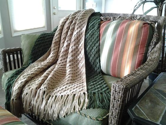 Crocheted Fringed Afghan by GrandmaConnieCrochet on Etsy
