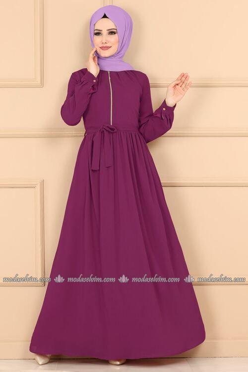 Modaselvim Elbise Fermuar Detay Kemerli Elbise 5009ef311 Murdum Trendy Dresses Formal Modest Fashion Hijab Hijab Fashionista