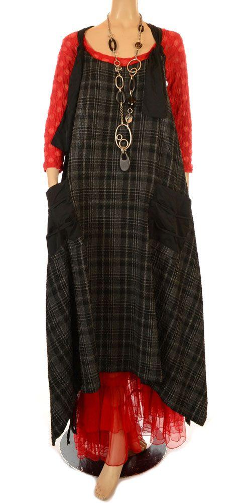 Sinne Black  Grey Check Funky Unstructured Pinafore Dress-Sinne, lagenlook