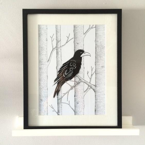Crow im Wald Art Print einzigartige Abbildung von Blueoakprints