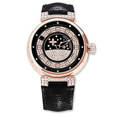 Louis Vuitton Diamond and Pink Gold Tambour Spin Time | See more about louis vuitton, diamonds and pink.