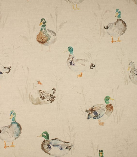 Love this watercolour fabric http://www.justfabrics.co.uk/curtain-fabric-upholstery/linen-paddling-ducks-fabric/