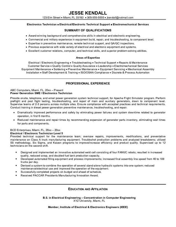 Professional Resume Electrical Engineering -    www - electronic repair technician resume
