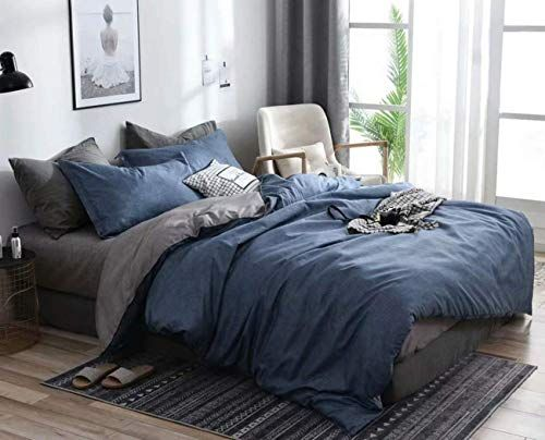 Jameswish 3pcs Blue Gray Duvet Cover Set King Size Dusty Blue Chambray Grey Reversible Farmhouse Bedding Set Blue Duvet Cover Gray Duvet Cover Bed Quilt Cover