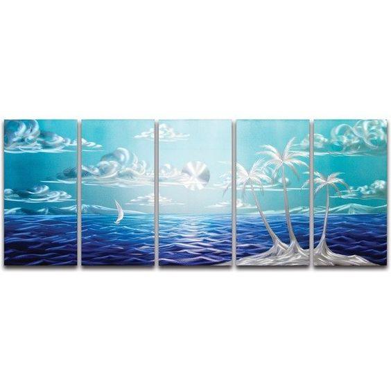 Blue Paradise' Brushed Aluminum Wall Decoration | Nautical Metal Wall Art