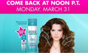 FREE Rave Hairspray Next Week on http://www.icravefreebies.com/