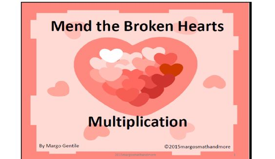 Here are 56 puzzles for your students to solve! Each page has 2 sets of broken heart pieces to put back together again as 2 whole hearts. Each heart (and of course, its pieces) have a multiplication fact written on it. As well as putting the pieces together to form a heart, the student must be sure to put the correct pieces together to make a multiplication fact. See this at www.teacherspayteachers.com/Store/Margo-Gentile