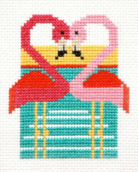 Retro Pink Flamingoes Modern Cross Stitch Pattern by tinymodernist, $5.00
