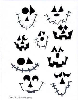 Large Jack O Lantern Faces Stencil: