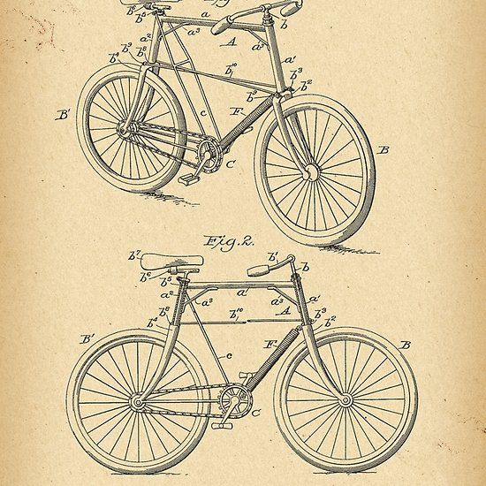 1898 Patent Velocipede Bicycle History Invention Con Imagenes
