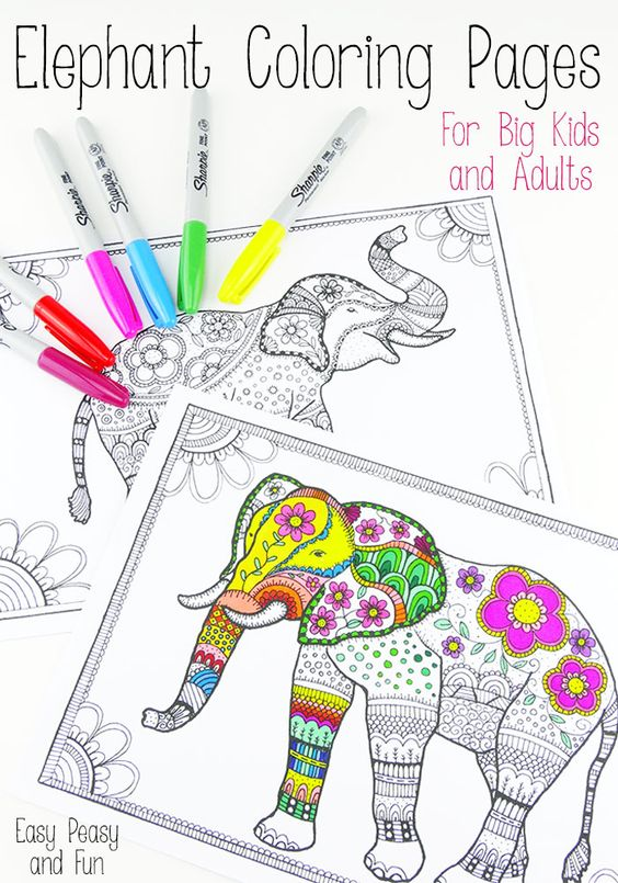 mandala elephant coloring pages easy - photo#21