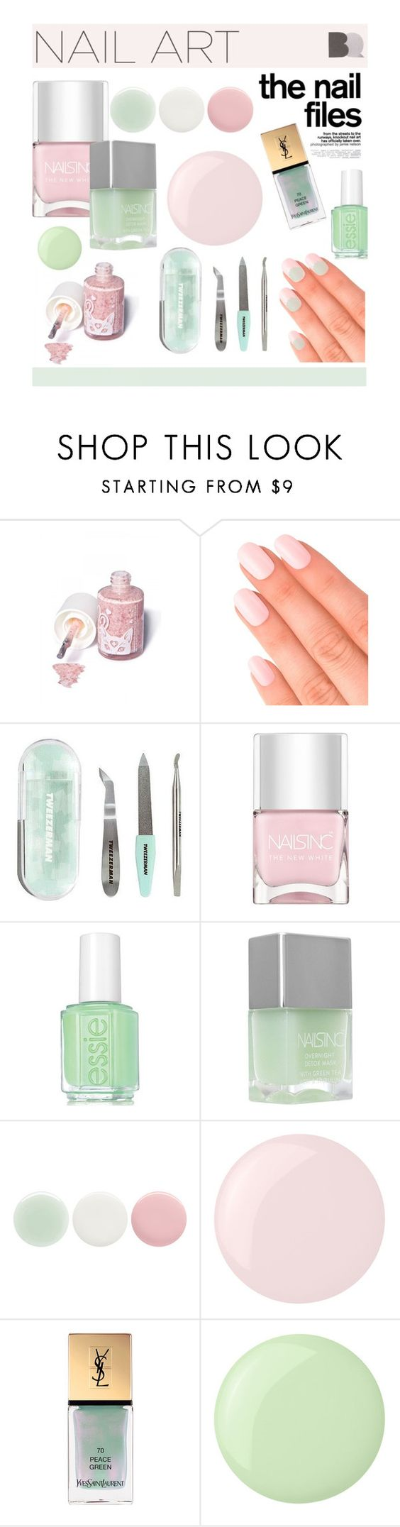 """#pinkandgreen"" by hellodollface ❤ liked on Polyvore featuring beauty, Sugarpill, Elegant Touch, Tweezerman, Nails Inc., Essie, Yves Saint Laurent, nail and pinkandgreen"