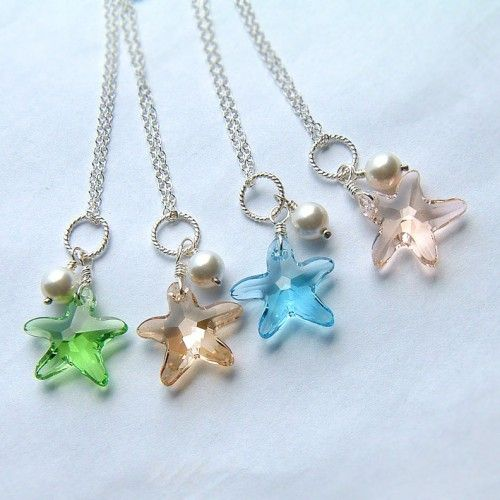 """Look at the stars, look how they shine for you."" Necklace Aquamarine Swarovski Crystal Starfish, Blue Sea"