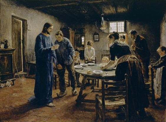 Fritz von Uhde (German, 1848–1911), The Mealtime Prayer, 1885, Alte Nationalgalerie - Staatliche Museen zu Berlin.