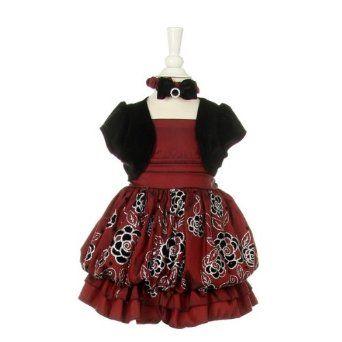 Cinderella Couture Nancy-109B-Flocking Glittler Taffeta Baby Dress with Velvet Jacket omg beautiful $45