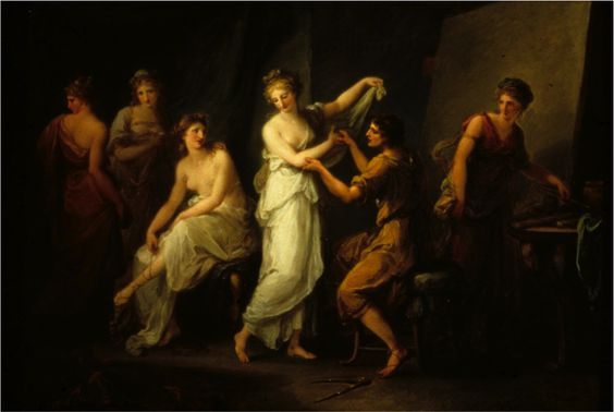Angelica Kauffmann: Zeuxis Selecting Models for his Picture of Helen of Troy c1778: