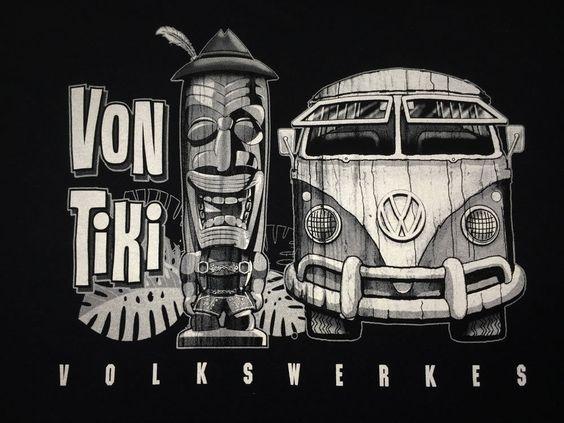 VW Volkswagen Von Tiki Volkswerks Gildan 100% Cotton T Tiki VW Bus T Shirt DUB #Cildan #GraphicTee