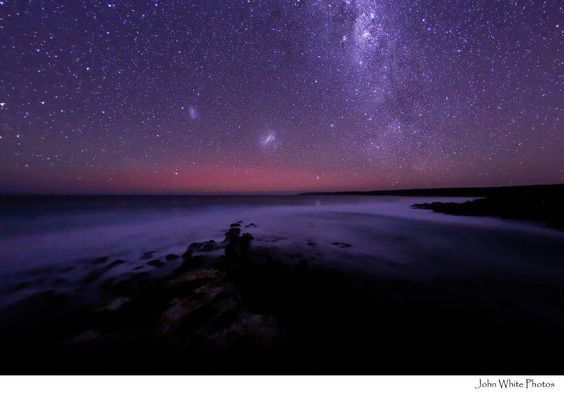 Glow of Aurora Australis, looking due south from Eyre Peninsula, SA