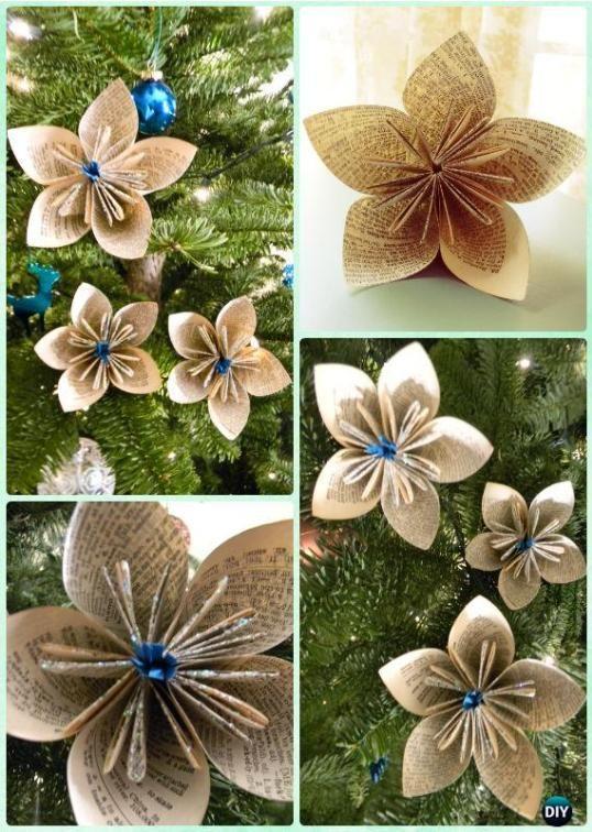 Diy Christmas Ornaments Ideas 32 Easy Elegant Ornaments From Pinterest Paper Christmas Ornaments Diy Paper Christmas Tree Christmas Tree Ornament Crafts