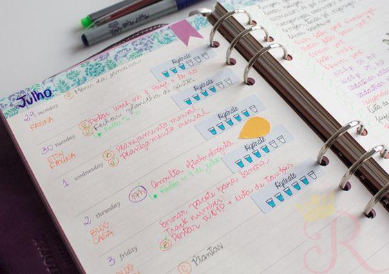Agenda semanal decorada stickers funcionais printable imprimivel agenda fichario filofax washi tape tarefas lista
