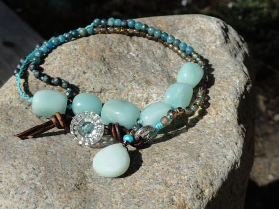 By Megen Walker: Beaded Amazonite Necklace Depression glass button closure on Etsy, $75.00