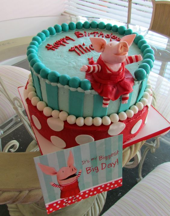 Cute turquoise and red Olivia cake