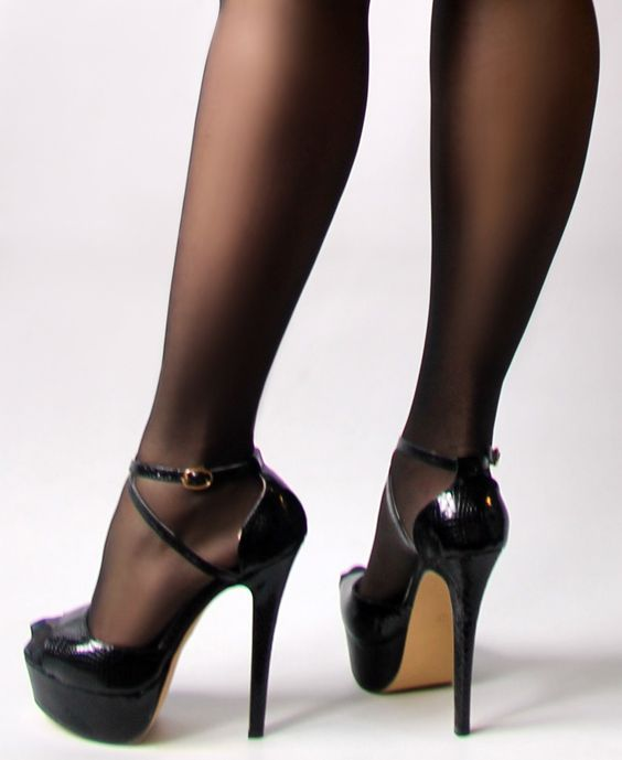 ZriEy Cross-Strap Peep-Toe Stilettos Black Crocodile PU | Aleida ...