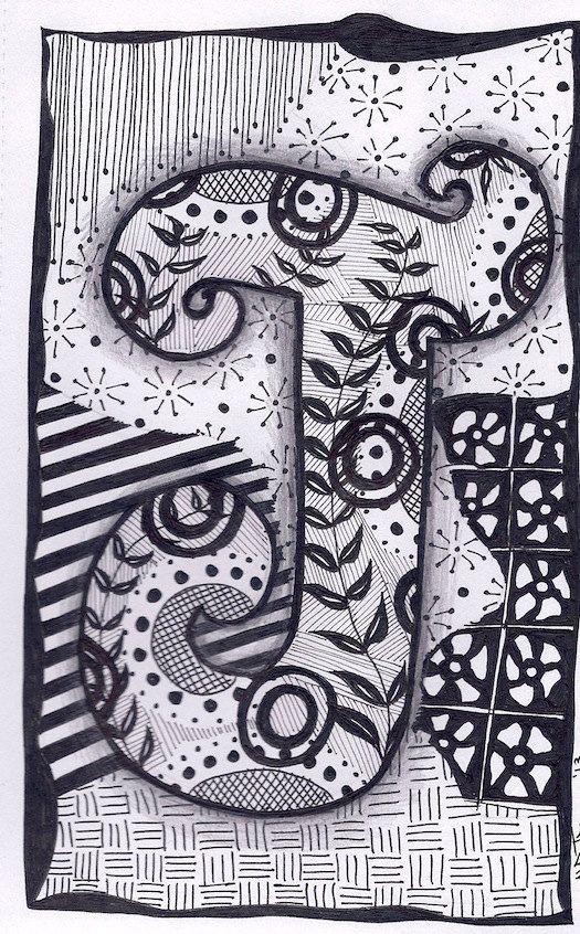 Zentangle, Letter J, ZebrA Letters, name, bunting