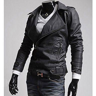 Men's Wid Collar Zipper Slim Coat