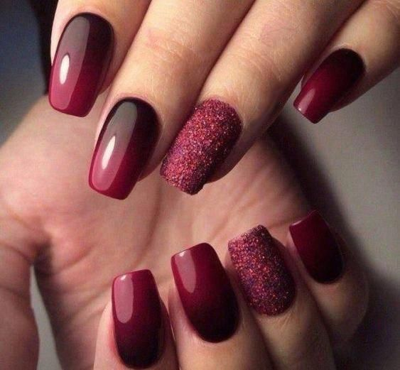 55 Trendy Manicure Ideas In Fall Nail Colors In 2020 Maroon Nail Designs Ombre Nails Glitter Burgundy Nail Art