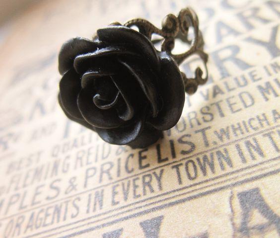 Black Rose Ring - Filigree Flower Cameo Cabochon. £4.00, via Etsy.