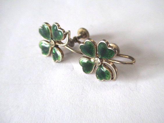 Enamel 4 Leaf Clover Shamrock Earrings Rhinestone Vintage Gold Tone by vgvintage on Etsy https://www.etsy.com/listing/220939804/enamel-4-leaf-clover-shamrock-earrings