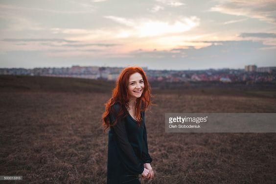 Stock-Foto : Smiley woman in the field