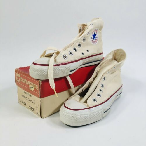 Vtg 70s Made In Usa Converse Chuck Taylor White Extra Stitch 4
